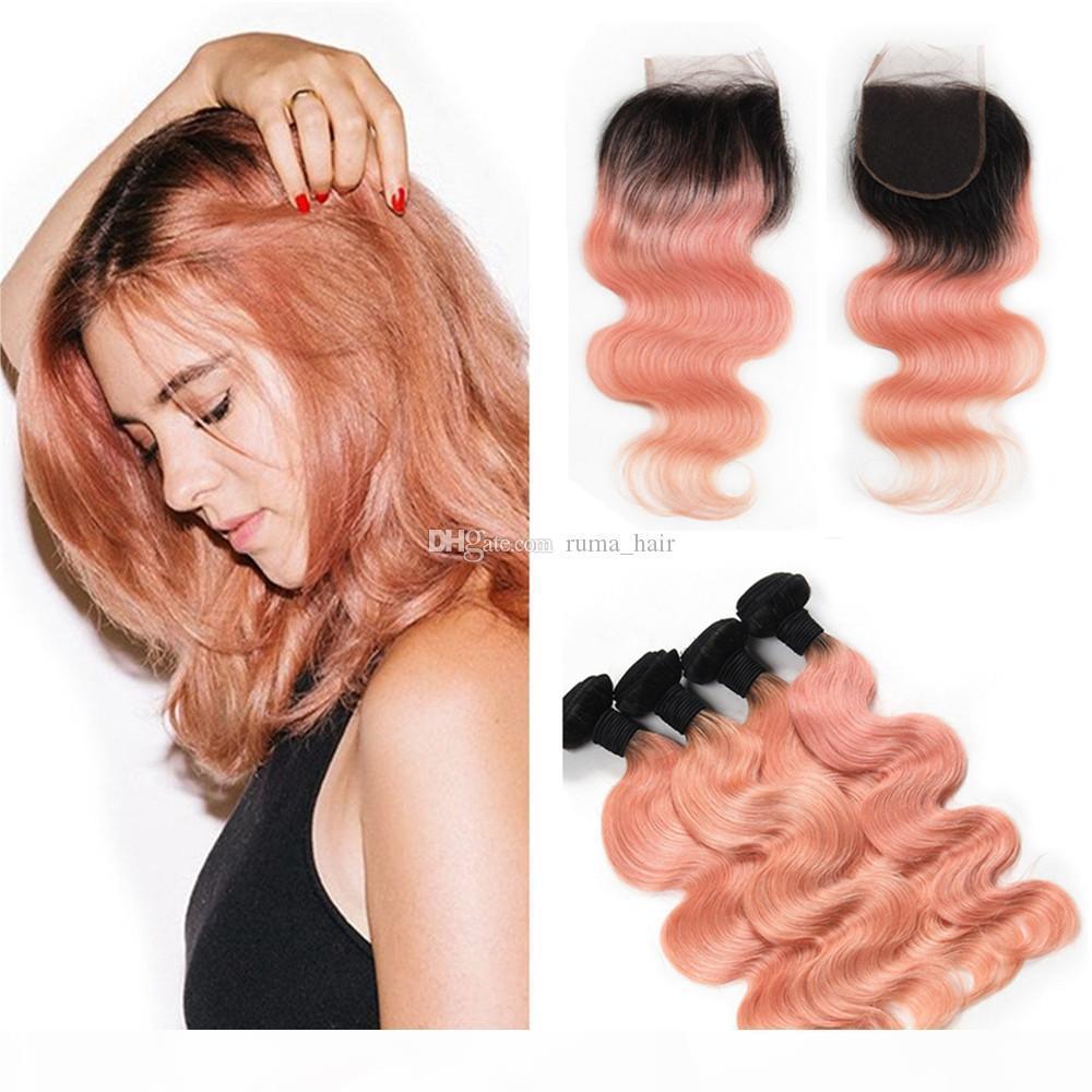 Peruanische jungfristige menschliche haarbündel mit spitzenverschluss ombre rose gold haare mit spitze schließung zwei tone rosa spitze schließung mit bündeln