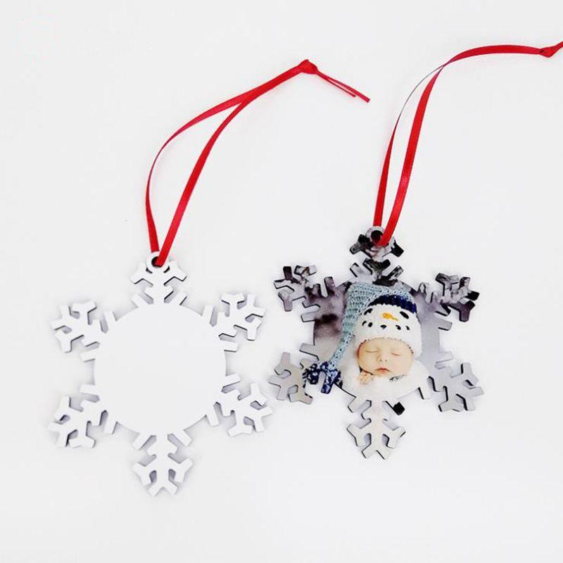 Sublimation bois flocon de neige ornements de Noël bricolage blanc pendentif accroché petits cadeaux faits à la main Décoration Arbre de Noël Pendentif Artisanat BT743