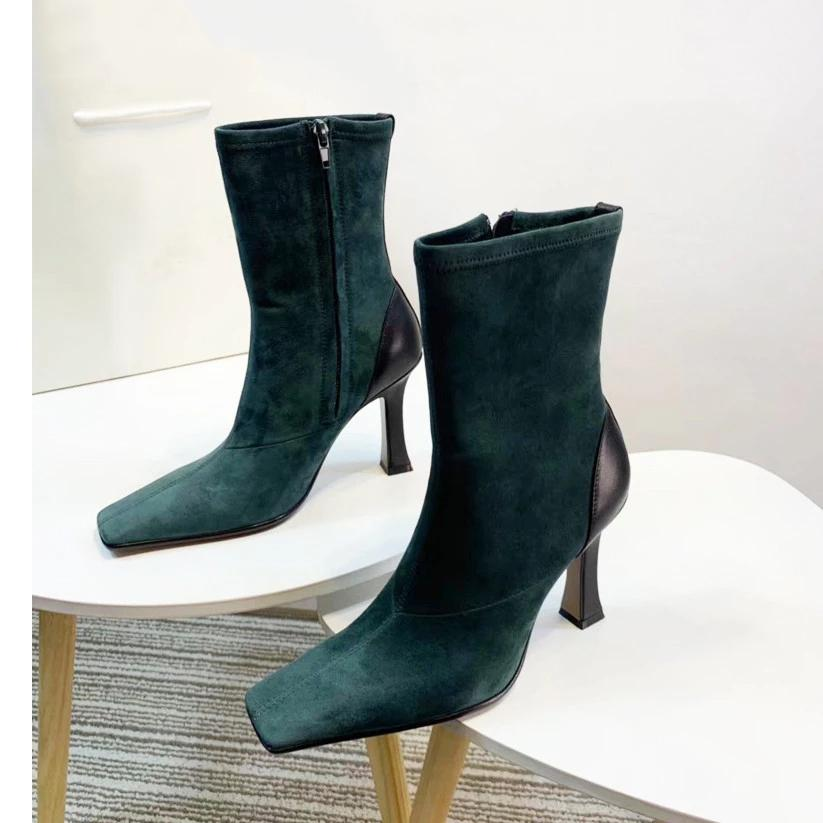 Quadratische Zehe High Heel Knöchelstiefel Frauen Green Wildleder Mode Kurz Party Boots PU-Leder Schwarz Winter Schuhe Frau