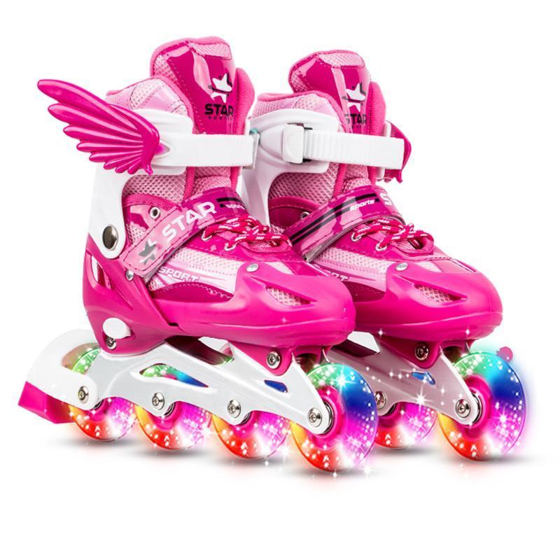 Réglable patins à roues alignées avec Light Up roues pour enfants Garçons Filles Triple protection Respirant COFFRET patins à roues alignées pour enfants