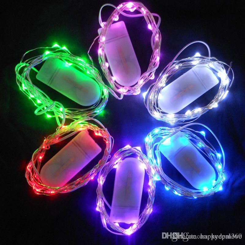 1M 2M 3M 5M 50 LED CR2032 Batterie Micro Mini Mini Mini String Light Cuivre Cuir Silver Stream Vine Lumière Chaîne pour la décoration de mariage