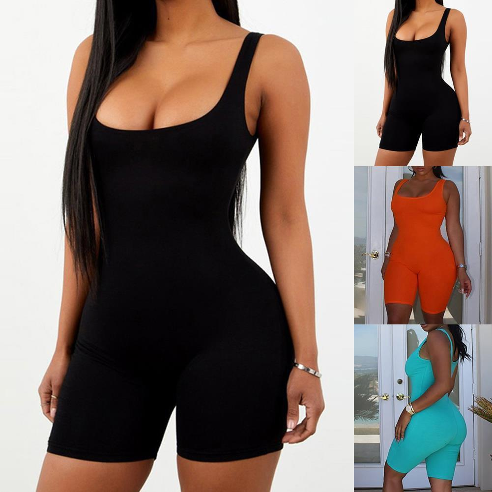 A Women Playsuit Sleeveless Romper Solid Color Bodycon Jumpsuit Slim Fit Short Romper Streetwear Drop Shipping