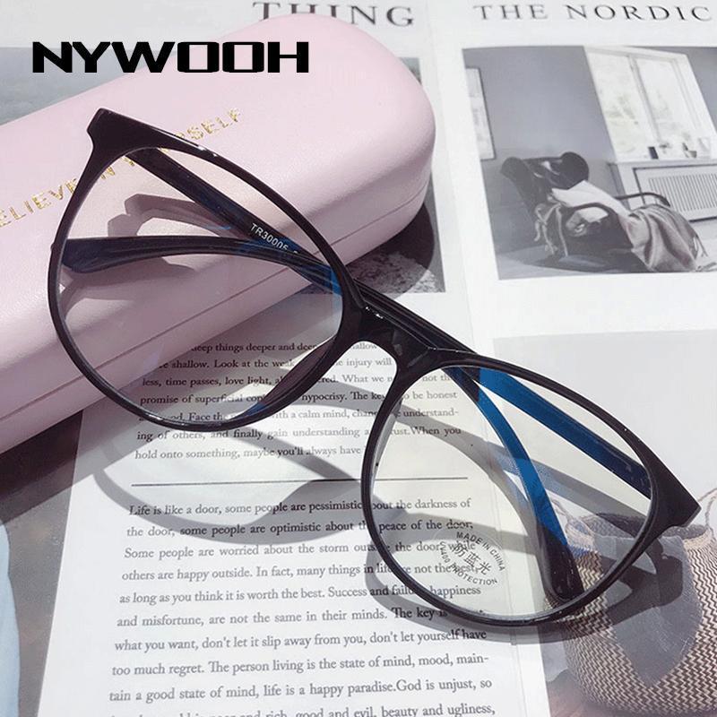 Quadros para Light Bloqueio de Computador Óculos Homens Transparentes Óculos Falsos Nywooh Óptica Eyeglass Gaming Azul Quadro Mulheres Rodada Abóxica