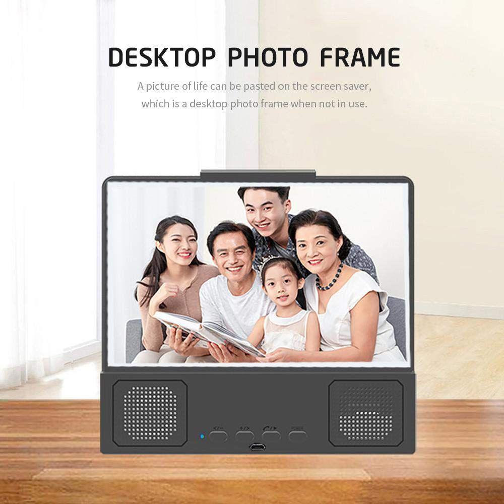 12 بوصة 3d شاشة مكبر للصوت الهاتف المحمول المكبر hd بروتابلي أفلام مع بلوتوث المتكلم حامل قوس حامل الهاتف الأزرق