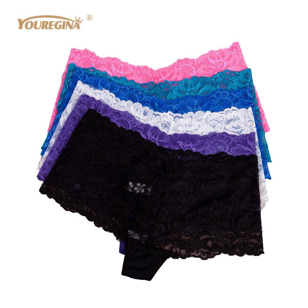 Yuregina Сексуальные кружевные трусики женщины видят через прозрачные шорты женщин женские ингимирует боксеры бойщиков короткие штаны 6шт / комплект 201112