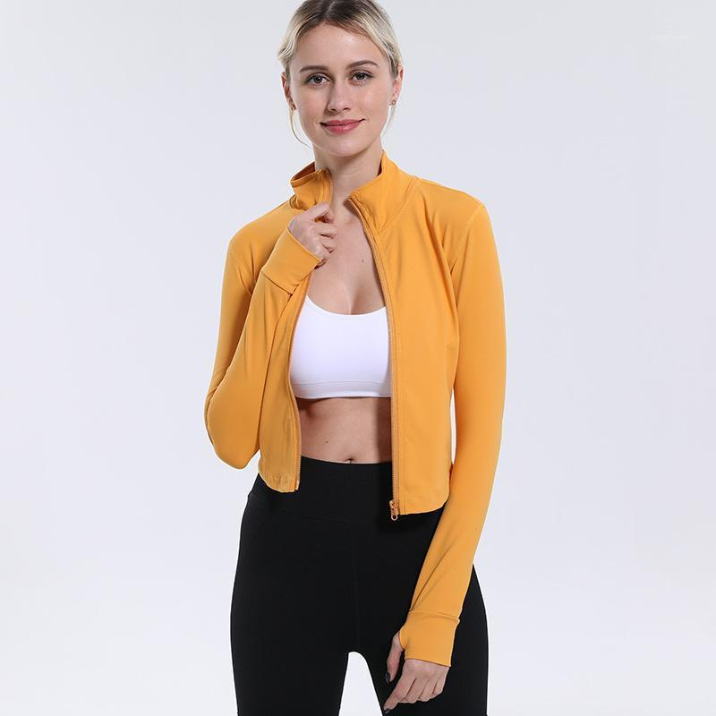 Elegant Stand Collar Yoga Shirts Sexy Sports Jacket Long Sleeve Fitness Yoga Jacket Zip Quick Dry Breathable Running Women Adult1