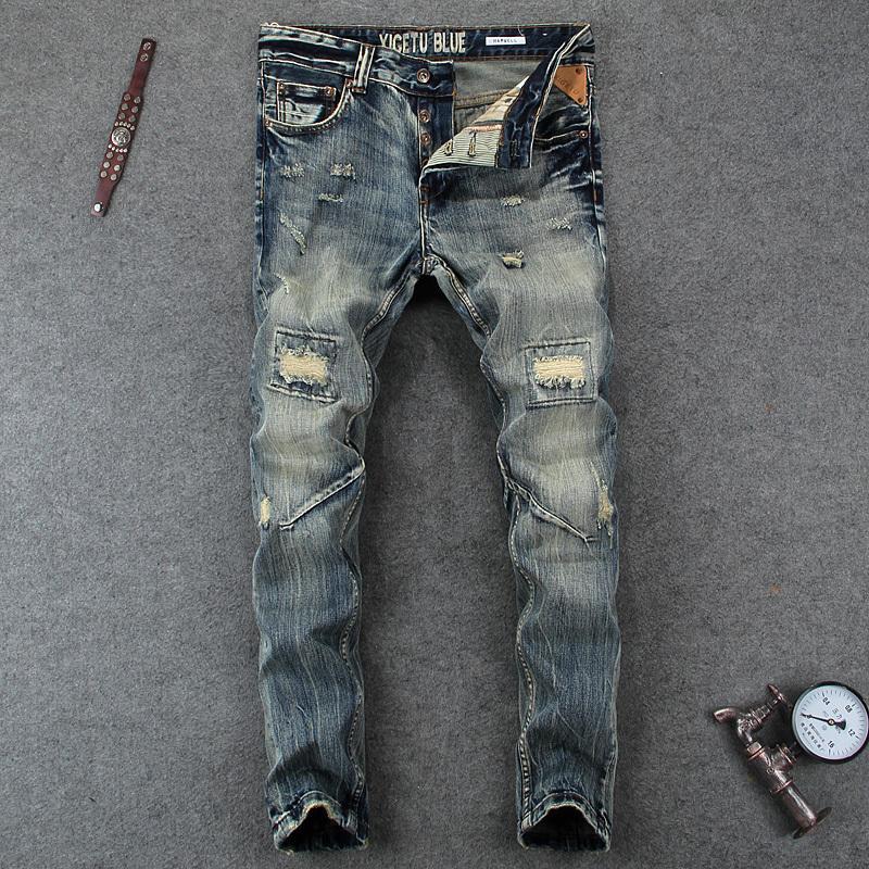 İtalyan Stili Moda Erkek Yüksek Kalite Slim Fit Erkekler Klasik Düğmeler Pantolonlar Marka Biker Jeans Homme Ripped Destroy