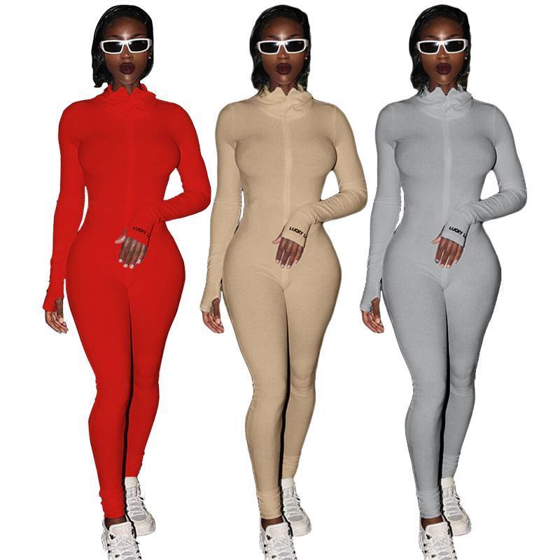 Streetwear Beyaz Örme Seksi Bodycon Şanslı Etiket Tulum Kadınlar Genel 2020 Uzun Kollu Skinny Rompers Bayan Tulum Kadın