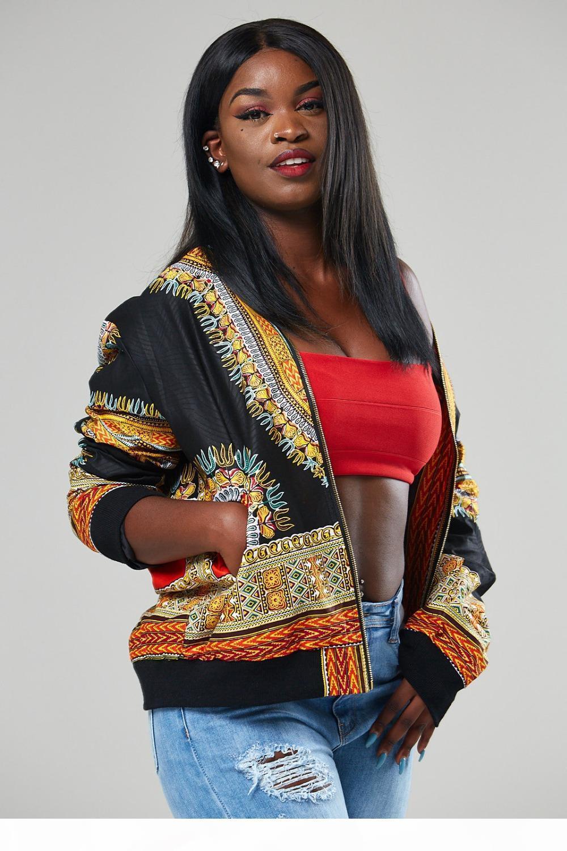 Darsjucbd 2018 Sexy Indie Folk Womens Chaqueta Abrigo Daskiki Africano Impreso Bomber Chaqueta Otoño Nuevo
