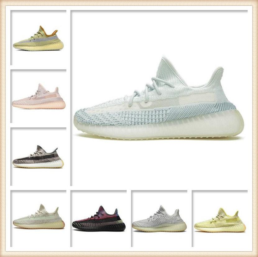 Herren Womens Sportschuhe 2021 Kanye West Asche-Stein Sonne Mode Großhandel Lichtreflektierende Beilage Günstige Turnschuhe Grau Gestreifte Schuhgröße 36-48
