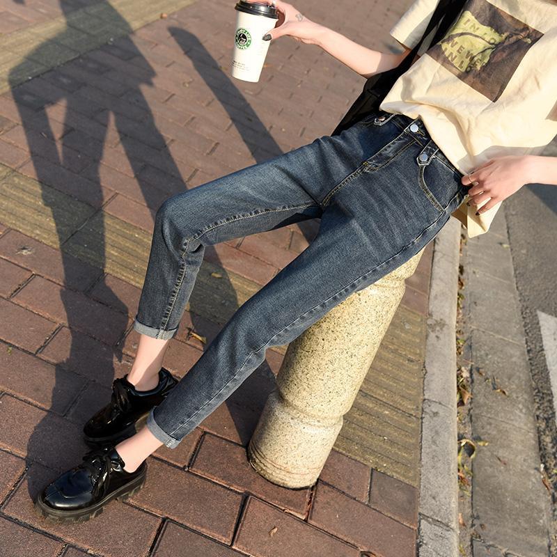 المرأة جينز مستقيم الساق أمي فضفاض عالية الخصر الرجعية السراويل النساء أزياء عارضة الحريم فضفاضة السراويل السوداء