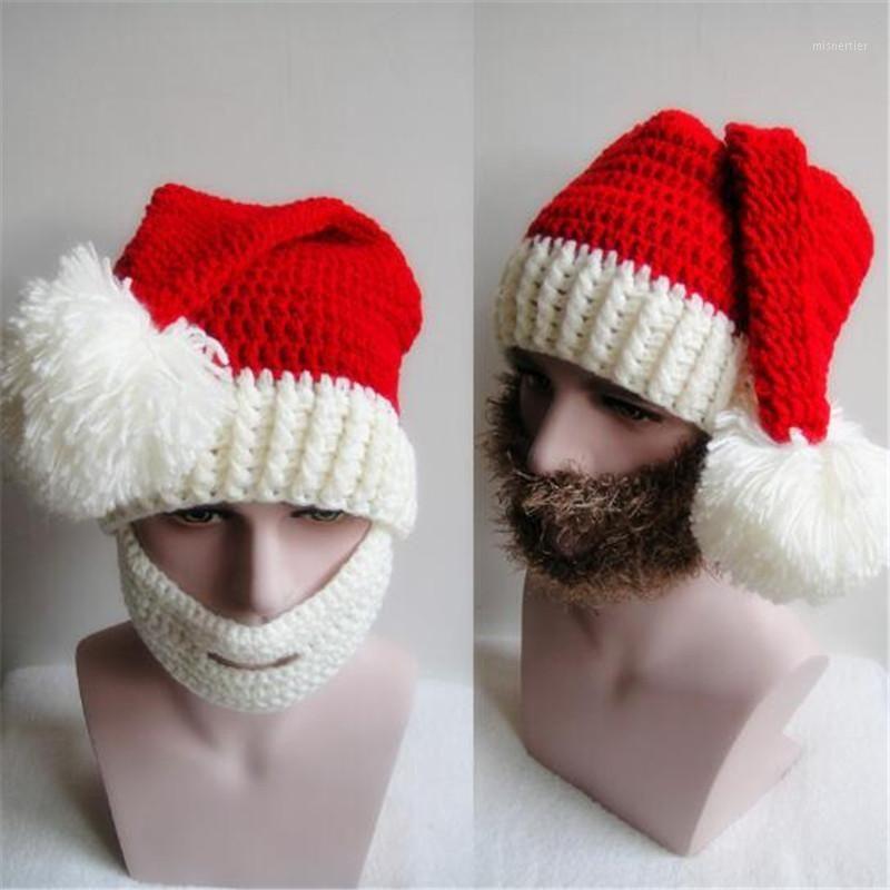 Wynlzq navidad santa sombreros y conjunto de barba juego de rol de adulto Claus traje accesorio suéter niños gorra niños hombres hombres nuevo año1