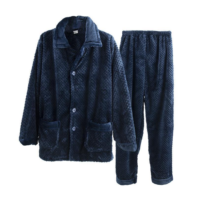 Тяжелый вес Теплый Коралловый флис пижама Set Мужчины Зима фланели с длинным рукавом Тепловое Homme костюм вскользь Pijama Hombre Синий Sexy Man