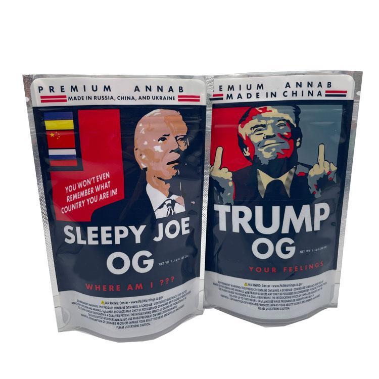 Più nuovo Trump OG Sleepyy Joe OG 3.5g Borse Mylar Borse Edibles Borsa PK Biscotti Borse Lati Sigillato Sacchetto piatto 420 Sacchetti di imballaggio fiore di erbe secco