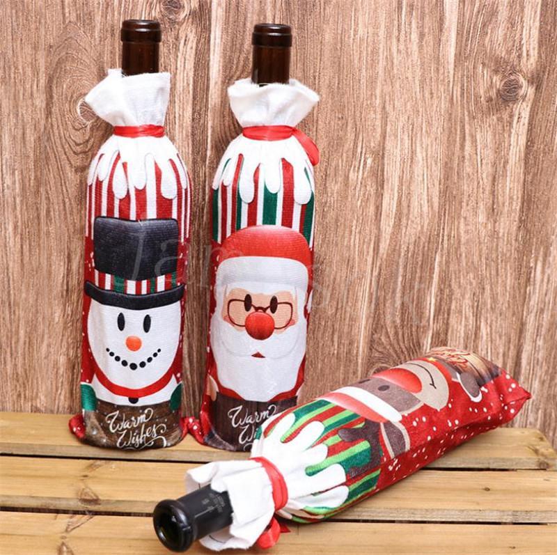 Capa de garrafa de vinho de Natal Feliz Natal decoração para casa 2020 xmas mesa decoração xmas presente novo ornamentos personalizados DB098