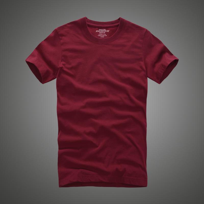 Hombres camiseta af 100% algodón sólido O-cuello corto manga camiseta de alta calidad 1005