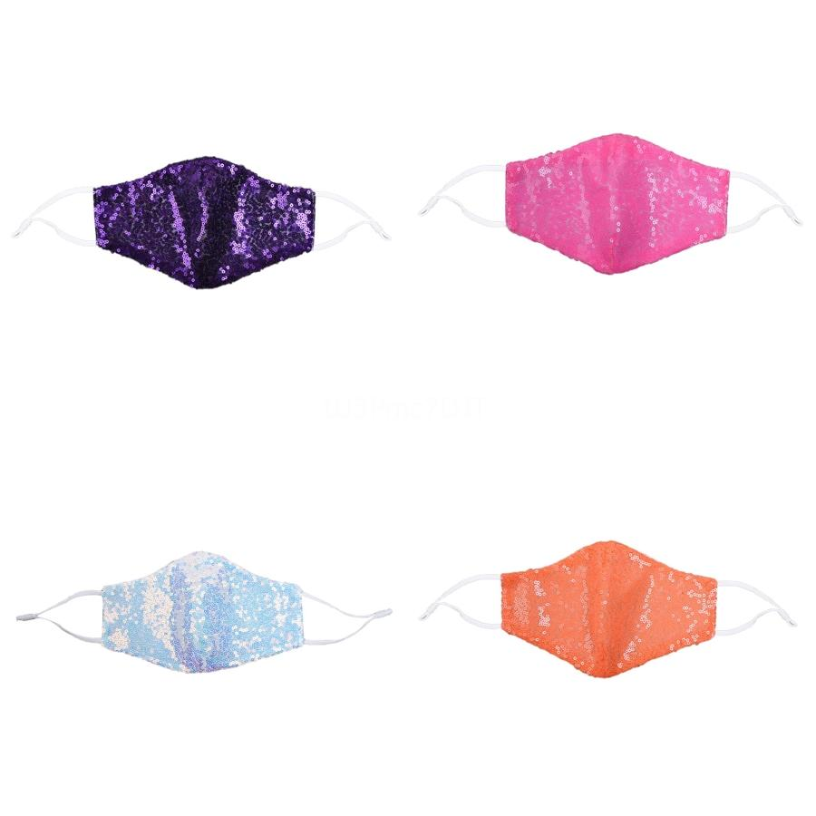 Mode Bling Sequin Masque Masques de protection anti-poussière WashableEarloop Masques bouche Adulte Enfant Cyclisme Coton Masque # 111 # 691