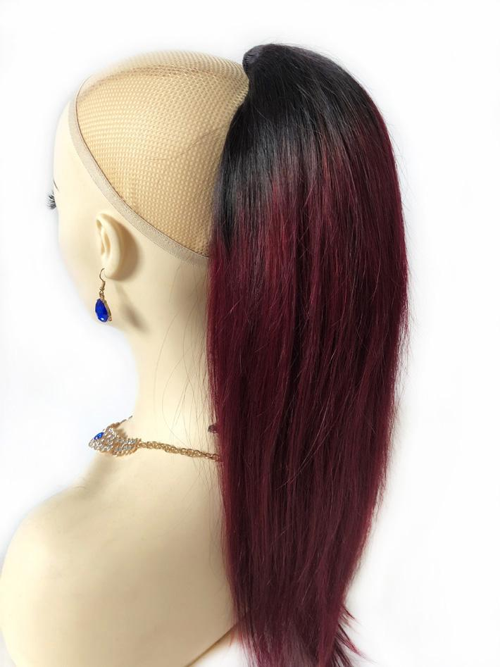 Extensiones de cabello humano de cola de caballo con clips 1b / 99j Burgundy Ombre Soporte de caballo Ponytail Straight Malasian Virgin Pein Pony colas para las mujeres