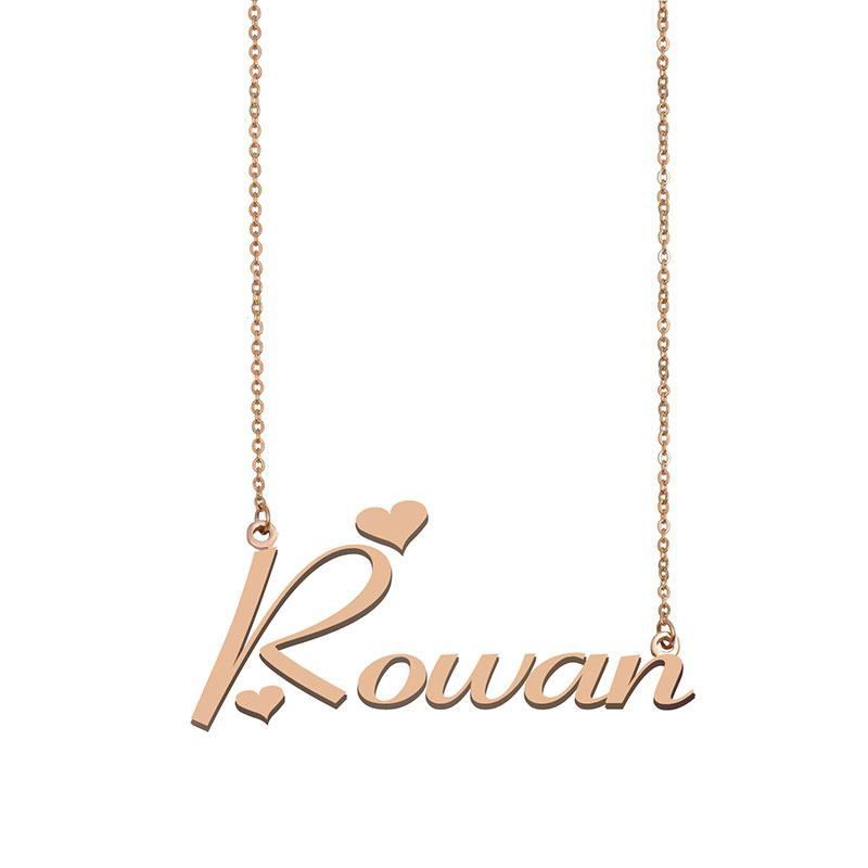 Rowan Namenskette benutzerdefinierte Nameplate-Anhänger für Frauen-Mädchen-Geburtstags-Geschenk für Kinder Beste-Freunde-Schmucksachen 18k Gold überzogener Edelstahl