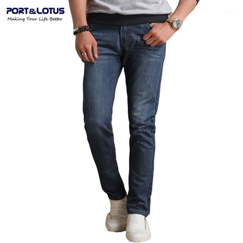 Port Erkekler Kot Marka Giyim Katı Renk Slim Fit Düz Pantolon Kot Erkekler 075 Toptan1
