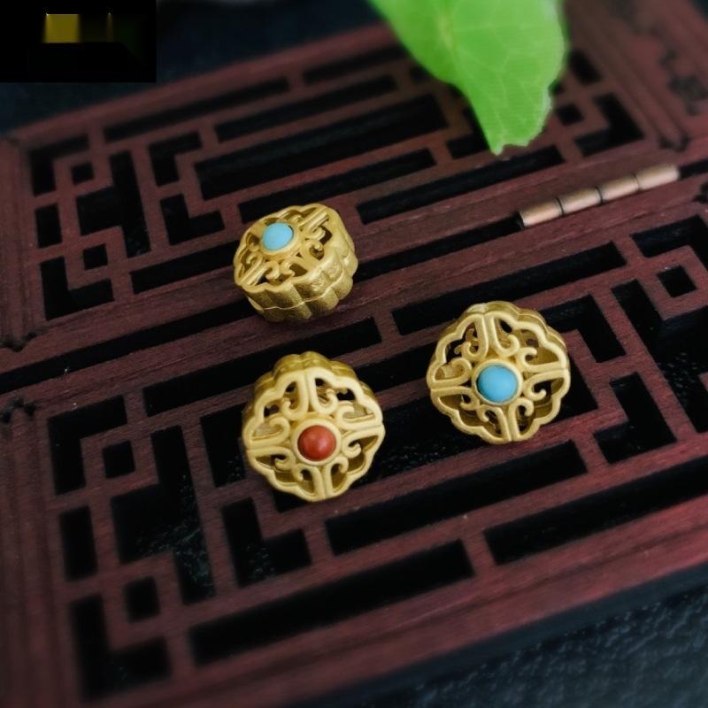 0jeIR Raw mineral de la turquesa S925 pura plata chapado de oro de 24 quilates de perlas a juego Xiangyun antigua oro DIY accesorios hechos a mano los accesorios de bricolaje chai