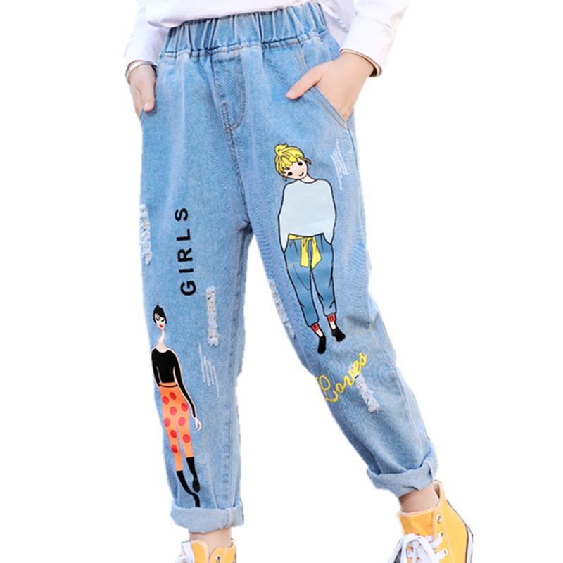 2020 моды мультфильм джинсы для девочек подростковые дети джинсы эластичные талии джинсовые брюки детские брюки для девочек детская одежда 4-13T LJ201127