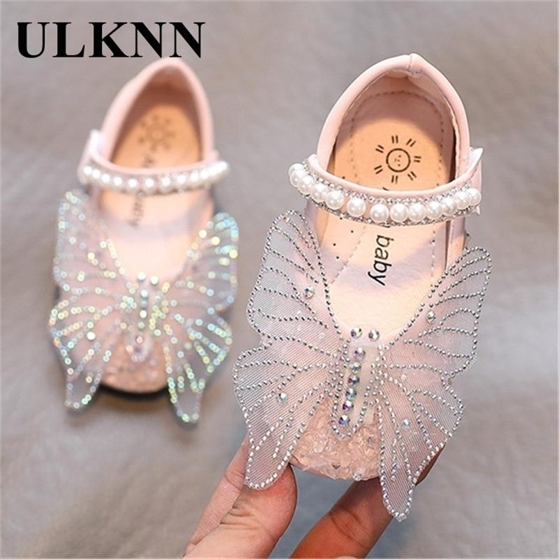 ULKNN Toddlers Baby Girls Shoes Kids Leather Shoes For Wedding Party Performance Lace Butterfly Rhinestone Bling Pearls Beading Y201028