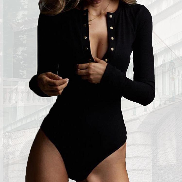 2021 새로운 패션 섹시한 긴 소매 피어싱 아이 Jumpsuit 바닥 상단 및 상단 Playsuit Rompers 5 색 S-XL 27626993366974