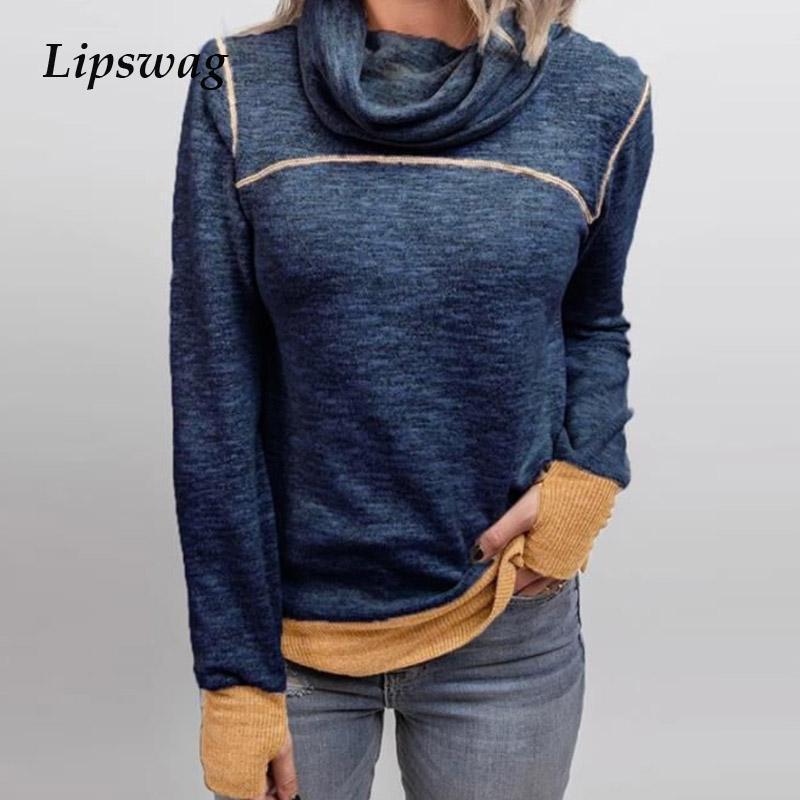 2021 printemps manches longues harajuku pull harajuku Tops automne Turtleneck Lady Blouse Sweat-shirt Femmes Patchwork Loable Sold Shirt Blusas