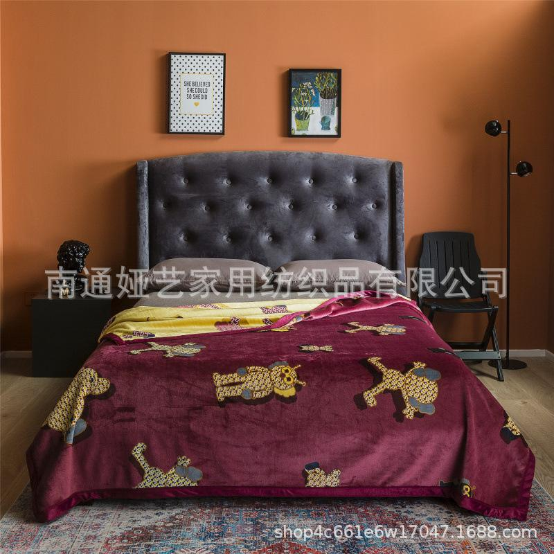 WeChat Hot-Selling Light Luxury Composite Duplex Printing Orange Jack Ma Mink Velvet Cloud Blanket Blanket Sofa Air Conditioner Tailstock Co