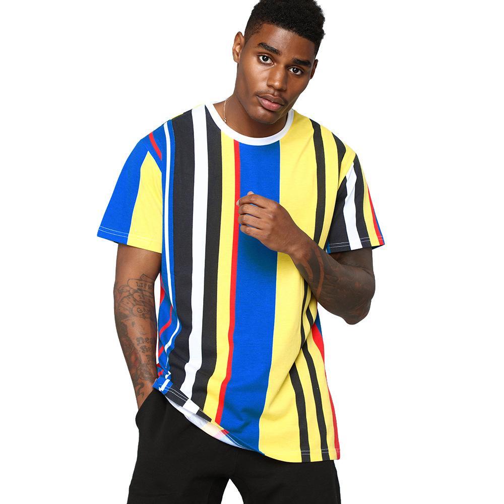 Casual Erkekler Tişört Çizgili Yaz Man Tişört Moda Streetwear Erkek T-shirt Hip Hop Marka Giyim Erkek Tee T Shirt Men Tops