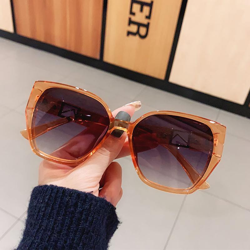 Güneş Gözlüğü Moda 2021 Lüks Kare Kadınlar Yüksek Kalite Degrade Lens Shades Kadın Vintage Turuncu Gözlük óculos