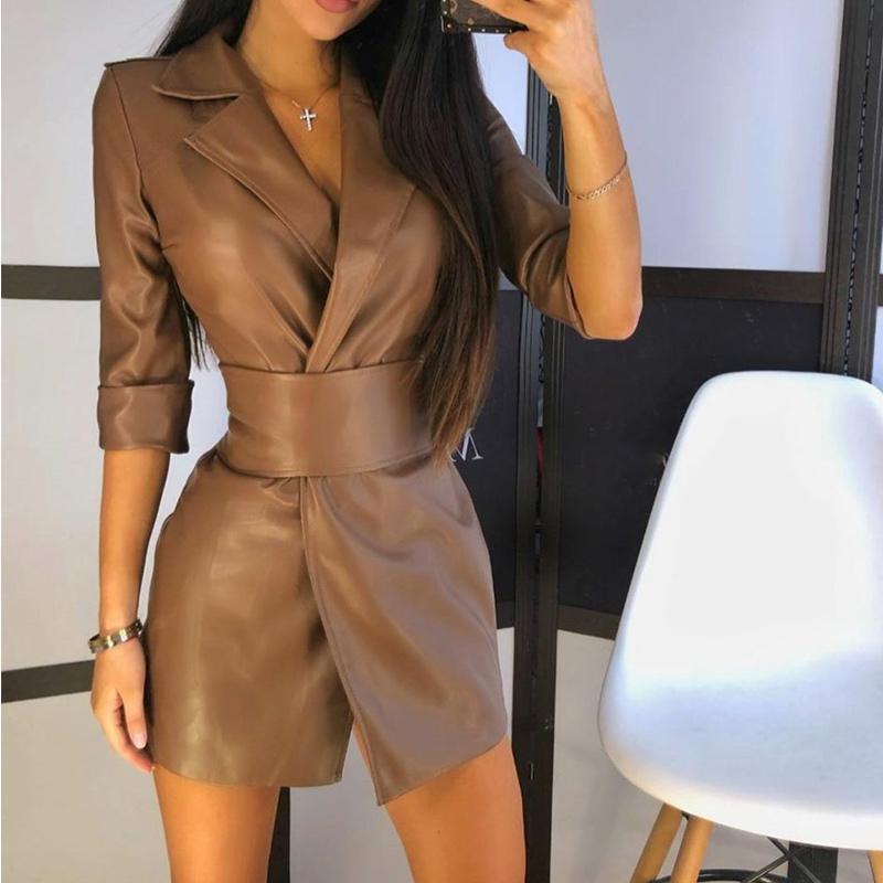 Sexy Pu Leather Women's Mini Dress With Belt 3/4 Sleeve Notched Split Short Dresses Female Autumn 2020 New Solid Ladies Vestido