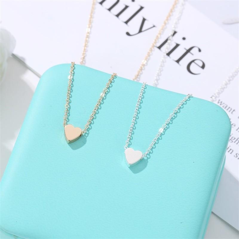 Amore a forma di cuore in lega collana gioielli donna catena mini superficie lucida di San Valentino day Collarbone catene 1 2QW J2B