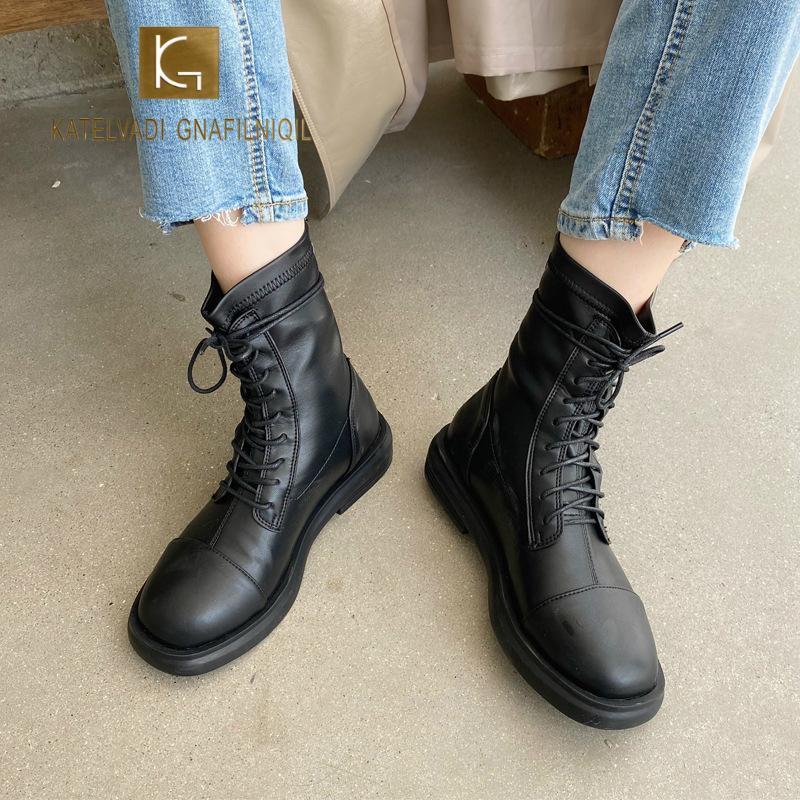 KATELVADI Yeni Çizme Kış Yok Kürk İç Katı Yüksek Kaliteli Gerçek Deri Rahat Kare Topuk Ayakkabı Kadın Boots XYL-014