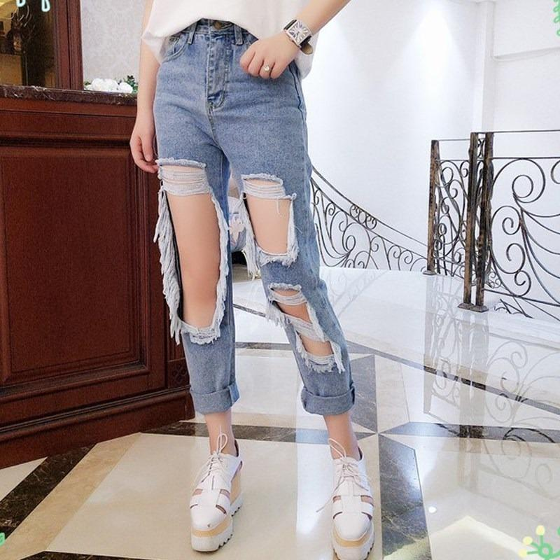 Designer New Arrival 5XL Jeans Ripped Jeans minces Loose femmes Pantalons Culottes Salopette Vintage Femme Pantalons Torn