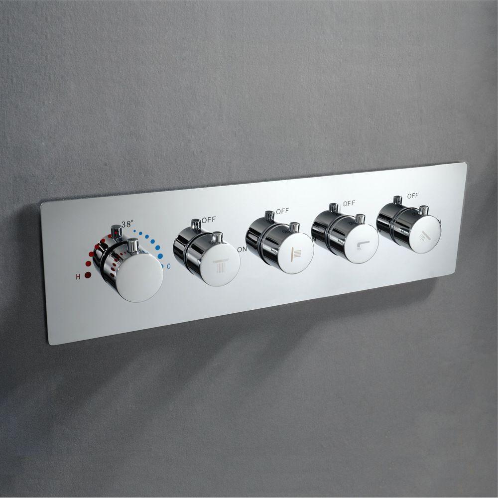 욕실 크롬 샤워 컨트롤러 온도 조절 샤워 수도꼭지 수직 벽 장착 믹서 밸브 황동 제어 샤워 헤드 포함 상자