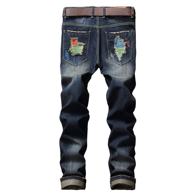 Nova chegada pincel de pintura buraco quebrado Jeans Homens Tendência Tide moda casual mens algodão de alta qualidade plus size 28-33 34 36 38 40 42