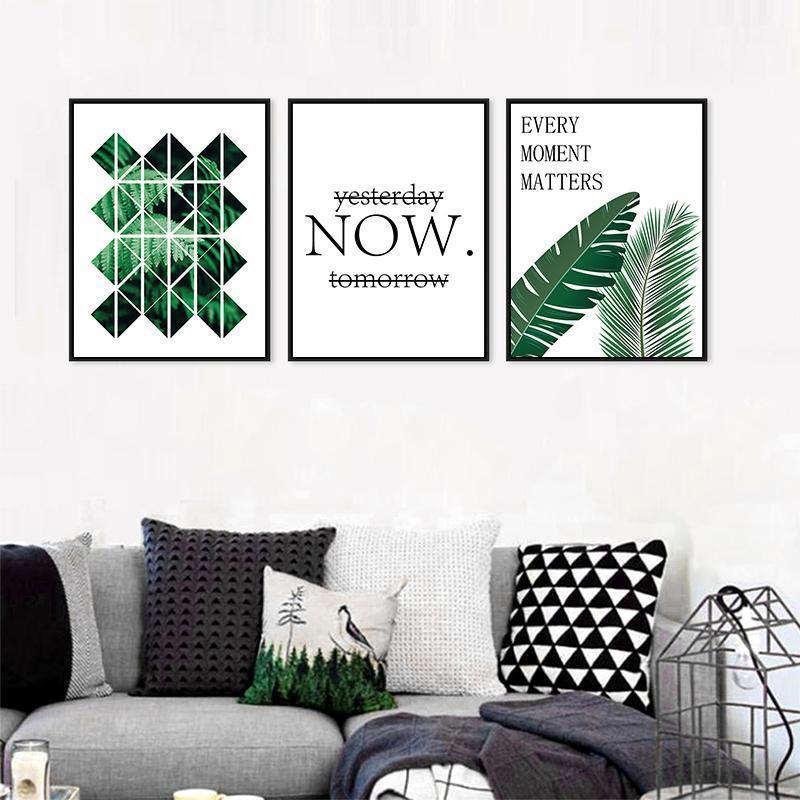 Modern Yeşil Bitki Yaprakları Posterler ve Baskılar Nordic Manzara Duvar Sanatı Tuval Boyama Oturma Odası Ev Dekorasyon Için Resim1