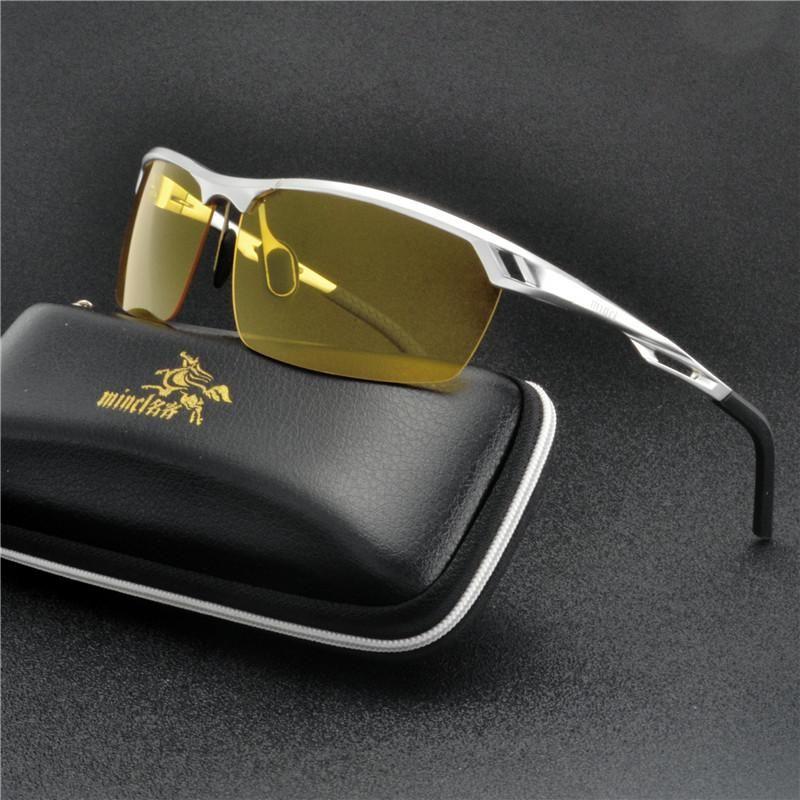 Alluminio Magnesio Mens polarizzati Night Vision Occhiali da sole uomini del progettista di marca Giallo Lens Donne di visione notturna di guida Occhiali NX