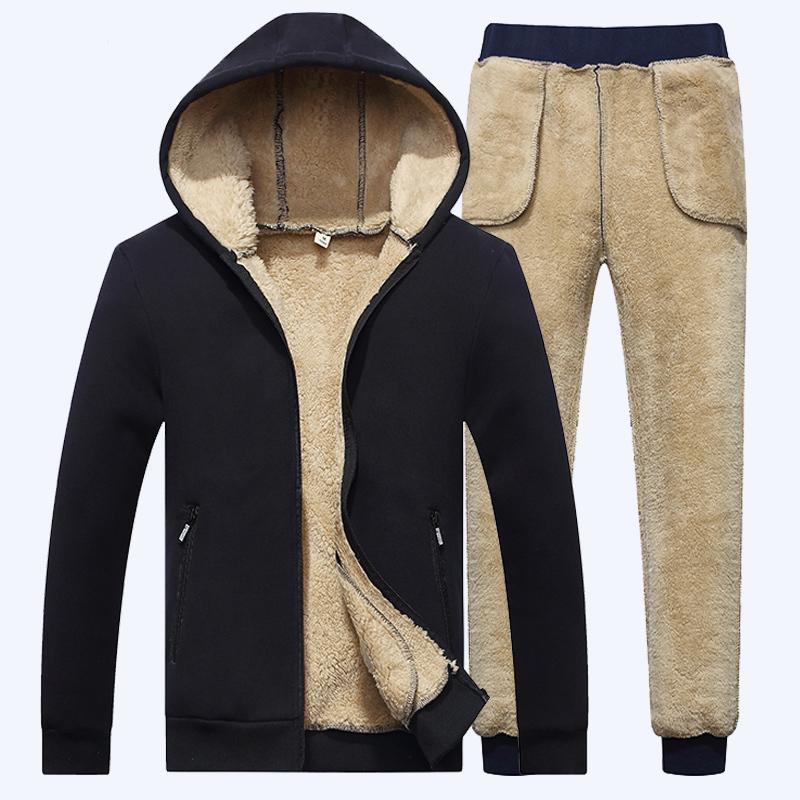 Capuz do cordeiro dos homens Hoodie + calça Fleece Grosso Thick Track Terno Casual Cashmere Winter Moletom