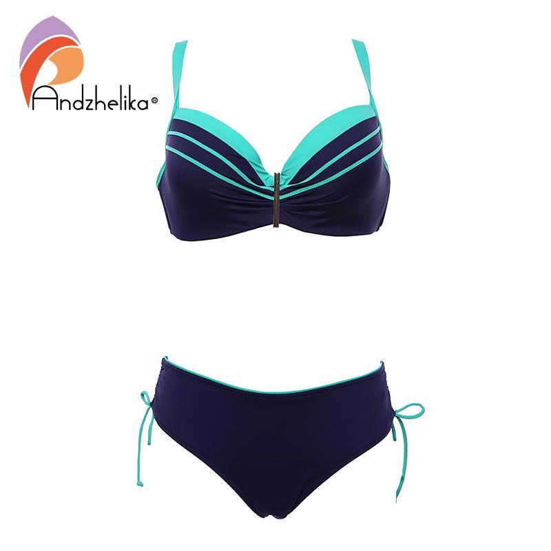 Andzhelika Seksi Bikini Kadınlar Büyük Kupa İki adet mayolar Bikini Seti 2020 Plaj Artı boyutu Mayo Yıkanma Suit 1004 itin