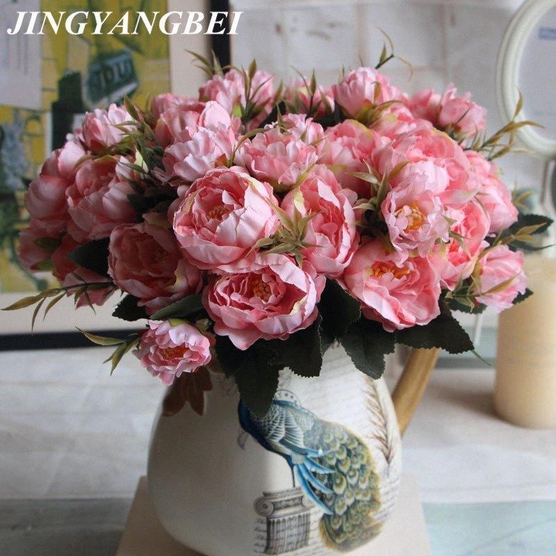 European Style Mini Rose Pfingstrose Blumenstrauß-Silk Blumen-künstliche Simulations-Blumen-Hochzeit Hauptdekoration MLEN #