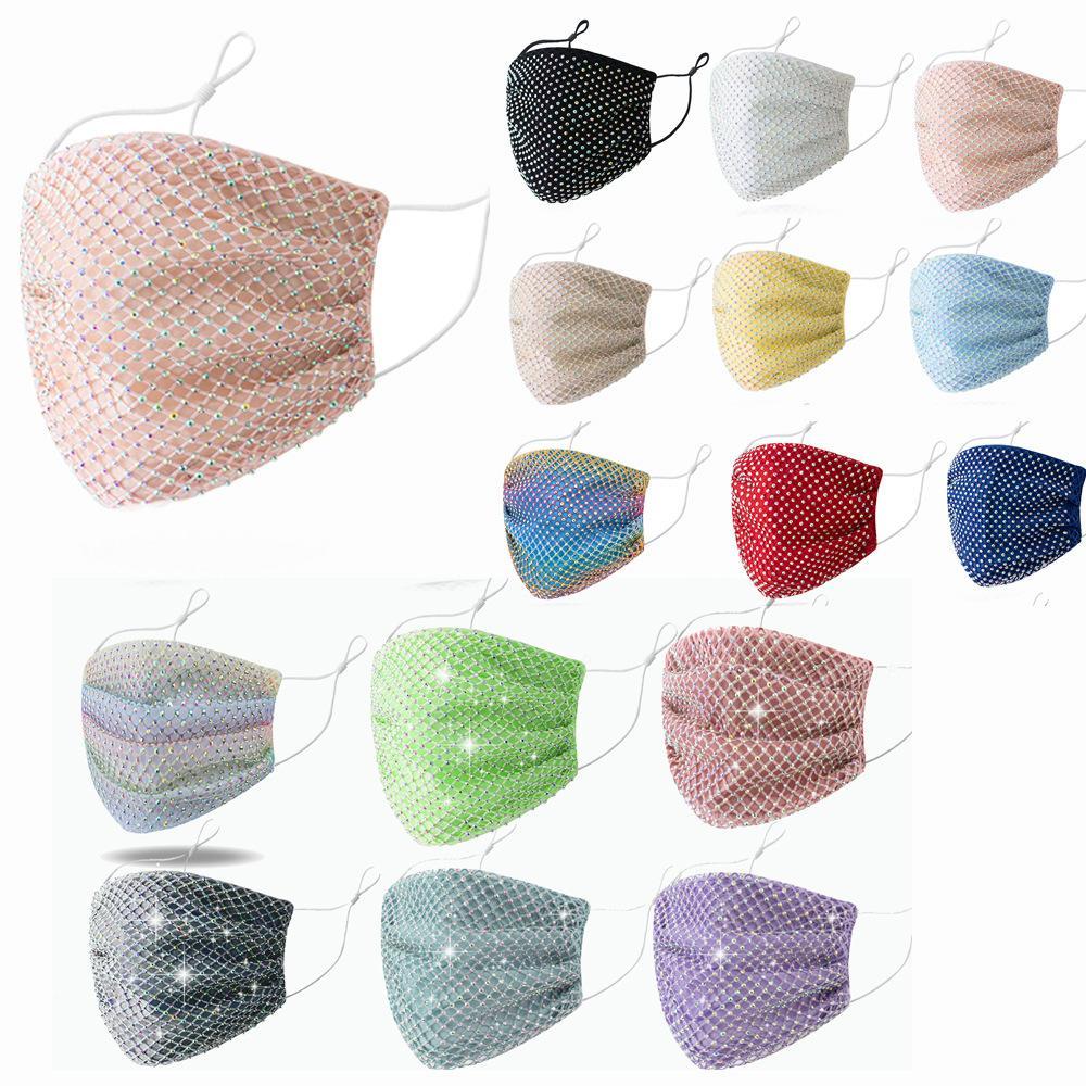 15 الألوان شبكة الكريستال مصمم الماس السيدات قناع الأزياء الغبار واقية مكافحة الضباب تنفس قابل للغسل أقنعة الوجه التي يمكن إعادة استخدامها الشحن السريع