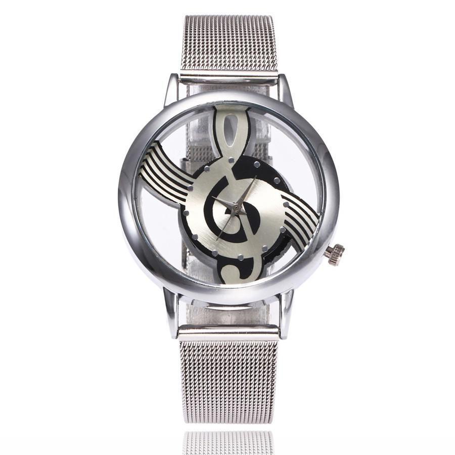 2017 Nueva marca Moda Hollow Music Not Notation Notation Watch Reloj de pulsera de cuarzo de acero inoxidable para hombres Relojes de malla de plata