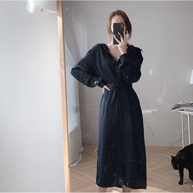Женщины платья 2020 весна лето Корейский моды рубашки платье дамы Элегантные платья с поясом Одежда