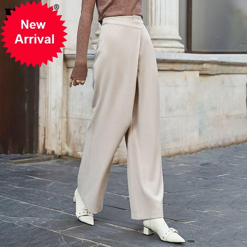 [eam] عالية الخصر زر المشمش سبليت طويلة السراويل الساق طويلة السراويل جديدة فضفاضة تناسب النساء أزياء المد الربيع الخريف 2021 1N366ZEOC