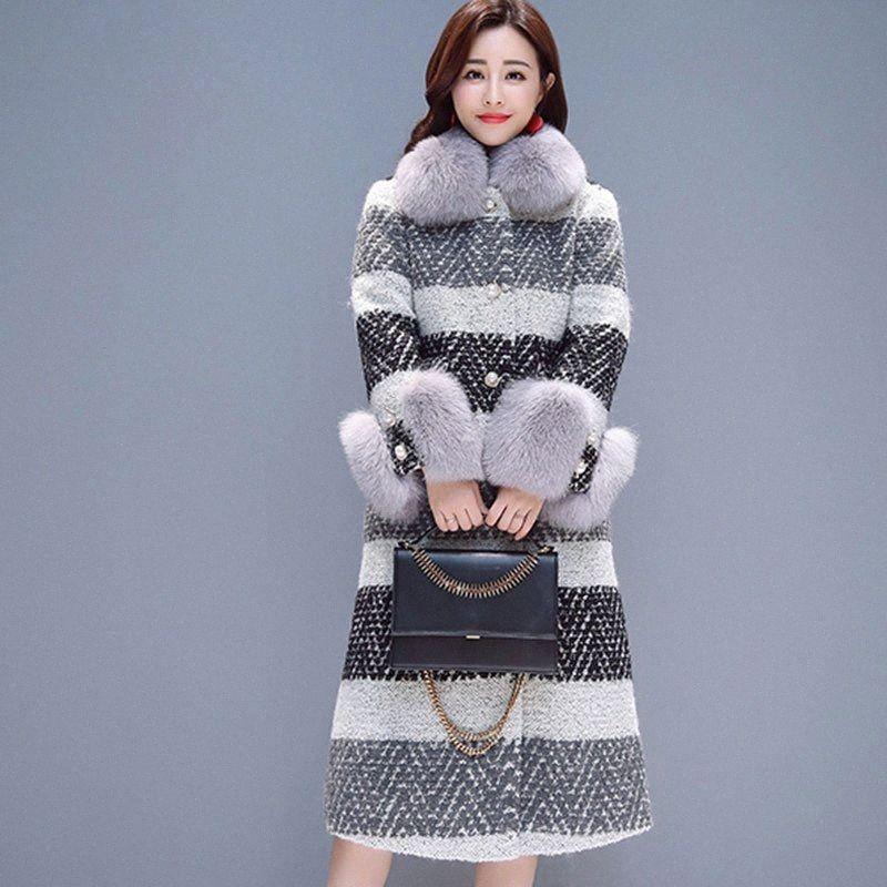 Новый стильный Runway 2019 Дизайнер зимы шерсти пальто Женщины толщиной траншею Длинные кашемир пальто Шинель Шерсть бленды Куртка Femme 904 y8xZ #