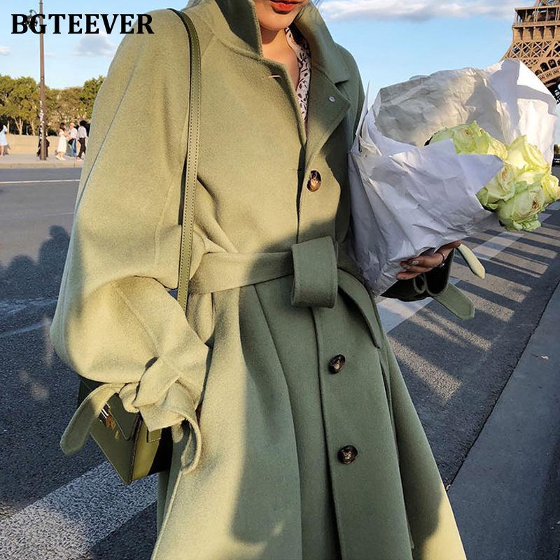 BGTEEVER Winter Thick Female Woolen Coats Turn-down Collar Single-breasted Pocket Belted Women Blend Coats 2019 Women Long CoatX1018