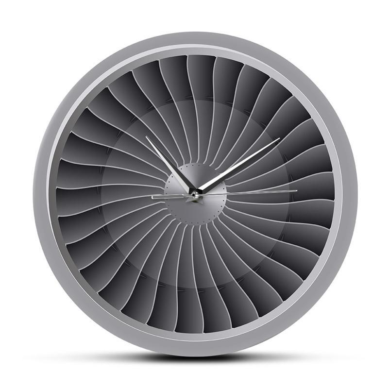 Jet Engine Turbine вентилятор двигателя напечатанные акриловые настенные часы настенные настенные настенные настенные часы Aviation Decor Jet Artwork Pilot Wall Watch LJ201208